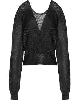 Wrap-effect Metallic Stretch-knit Sweater