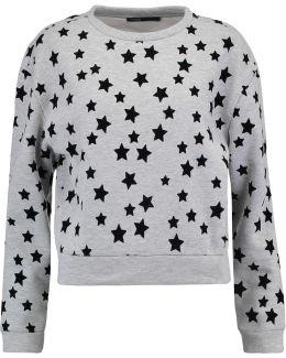 Velvet-detailed Jersey Sweater