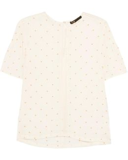 Crochet-trimmed Embroidered Gauze Top