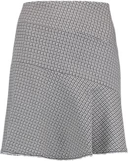 Houndstooth Cotton-blend Mini Skirt