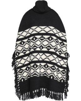 Fringe-trimmed Intarsia-knit Turtleneck Poncho