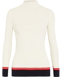 Paneled Ribbed Stretch-jersey Sweater