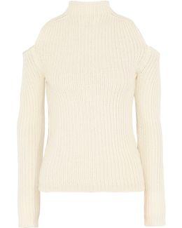 Cold-shoulder Wool-blend Sweater