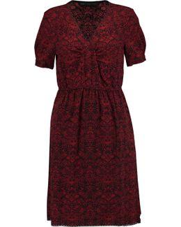 Lace-trimmed Printed Crepe Mini Dress