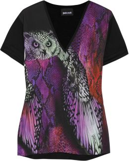 Printed Crepe De Chine And Stretch-jersey T-shirt