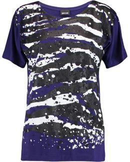 Glittered Printed Stretch-jersey T-shirt