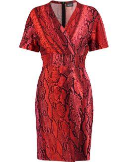 Wrap-effect Snake-print Jersey Mini Dress