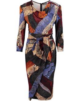 Wrap-effect Draped Snake-print Jersey Dress