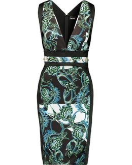 Paneled Printed Satin Dress