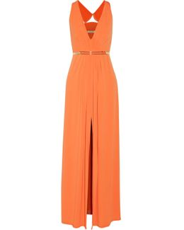 Belted Pleated Jersey Gown