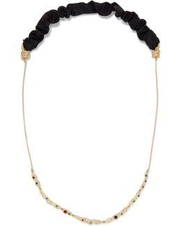 Satin Twill-trimmed Hammered Gold-tone Swarovski Crystal Necklace