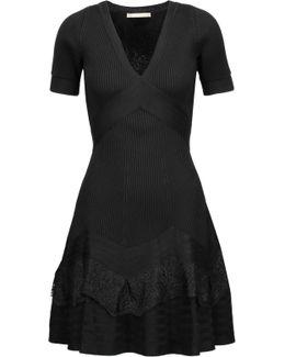 Lace-paneled Stretch-knit Mini Dress