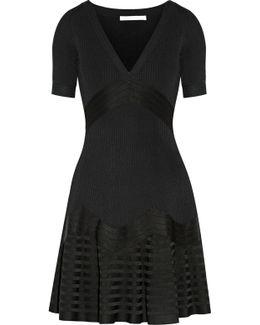 Fluted Paneled Stretch-knit Mini Dress