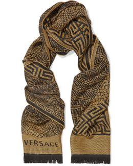 Fringed-trimmed Intarsia Wool Scarf