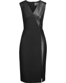 Leather-paneled Wool-blend Dress