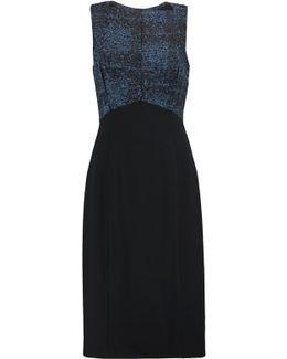 Paneled Bouclé And Crepe Dress