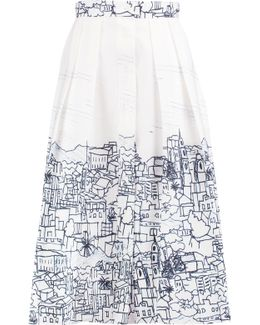 Pleated Printed Cotton-blend Skirt