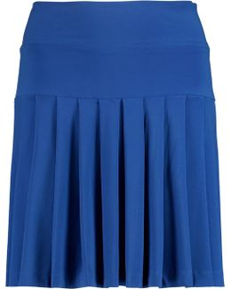 Pleated Stretch-jersey Mini Skirt