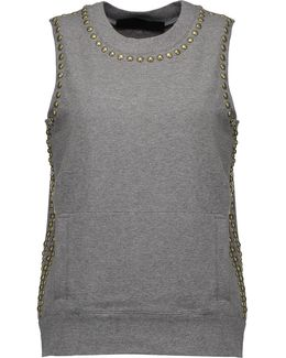 Stud-embellished Stretch-cotton Top