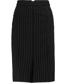 Pinstriped Crepe Skirt