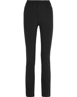 Pinstriped Knitted Straight-leg Pants