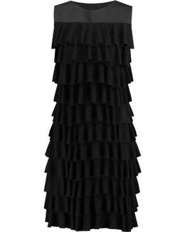 Tiered Ruffled Stretch-jersey Mini Dress