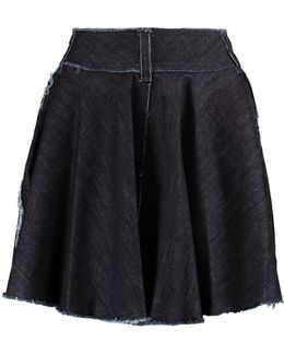 Wrap-effect Frayed Denim Mini Skirt