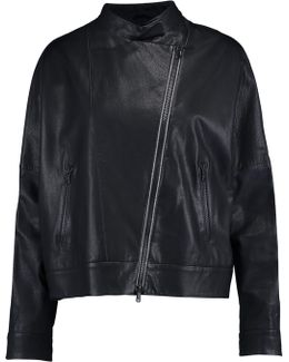 Chain-trimmed Leather Jacket