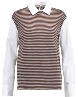 Striped Wool And Cashmere-blend And Stretch Cotton-blend Top