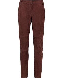 Suede Slim-leg Pants