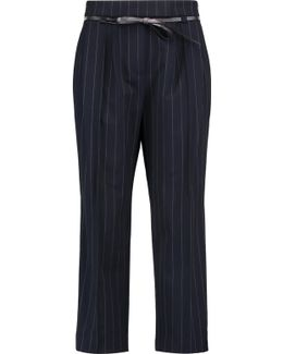 Belted Pinstriped Wool-blend Crepe Pants
