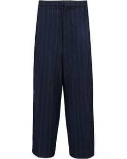 Pinstriped Wool And Cotton-blend Culottes