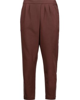 Pleated Cotton-blend Jersey Tapered Pants