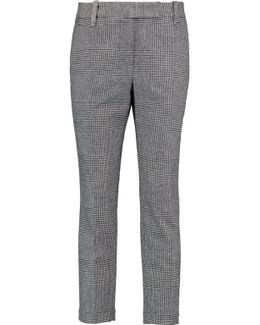 Cropped Houndstooth Wool And Cashmere-blend Tapered Pants