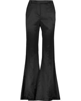 Cotton And Silk-blend Satin Bootcut Pants