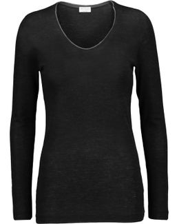 Bead-embellished Wool-jersey Top