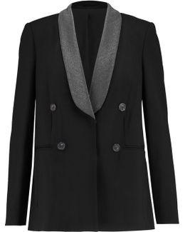 Embellished Wool-blend Crepe Jacket