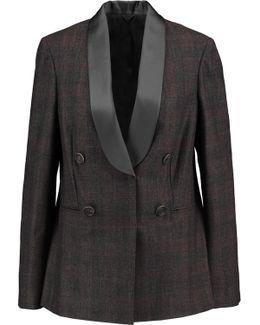 Satin-trimmed Checked Wool-blend Blazer
