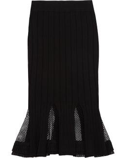Peplum Mesh-paneled Ribbed Stretch-knit Midi Skirt