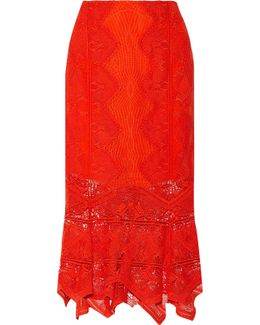 Open Knit-trimmed Lace Midi Skirt