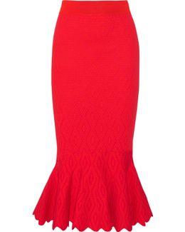 Textured Stretch-knit Midi Skirt