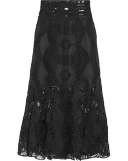 Fluted Guipure Lace Midi Skirt