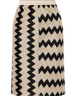 Paneled Crochet-knit Skirt