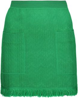 Frayed Crochet-knit Wool-blend Mini Skirt