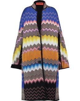 Shearling-trimmed Crochet-knit Coat