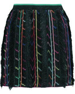 Fringed Metallic Silk-blend Crochet-knit Mini Skirt