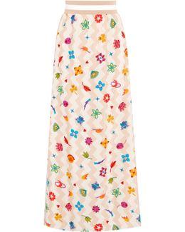 Pleated Printed Silk-blend Maxi Skirt