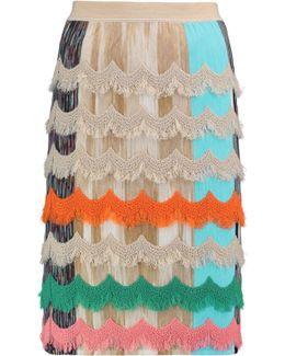 Fringed Wool-blend Skirt
