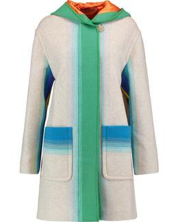 Printed Wool Hooded Coat