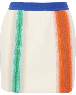 Striped Crochet-knit Wool Mini Skirt